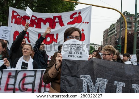 Milan, may 5, 2015 - Protestors march during a rally against the government's education reforms, the 'good school' bill, in Milan, Tuesday, May 5, 2015
