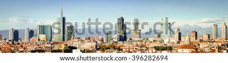 Milan (Milano) panoramic skyline with new skyscrapers - stock photo