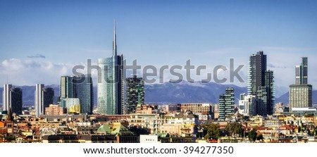 Milan (Milano) skyline with new skyscrapers - stock photo
