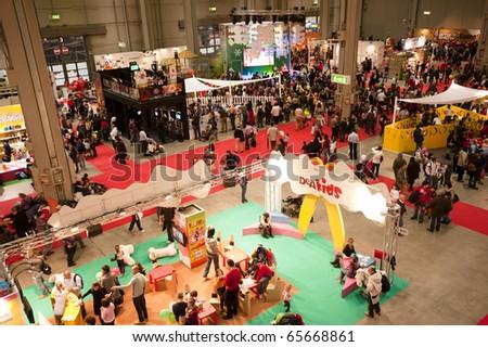 MILAN - NOV 21: Panoramic view at G! Come Giocare 2010, International Toy Fair, in Milan Fair, Nov 21, 2010. - stock photo