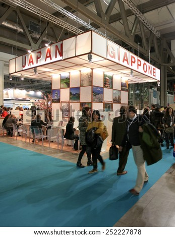 MILANO, ITALY - FEBRUARY 12, 2015: People visit Japan tourism exhibition stands area at BIT, International Tourism Exchange Exhibition in Milano, Italy.