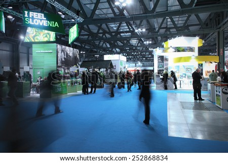 MILANO, ITALY - FEBRUARY 12, 2015: People visit Slovenia tourism exhibition stands area at BIT, International Tourism Exchange Exhibition in Milano, Italy.