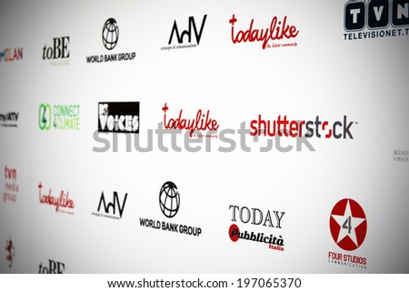 MILANO, ITALY - MAY 26, 2014: Sponsors list including Shutterstock brand on the Red Carpet at International Grand Prix Advertising Strategies in Milano Italy. - stock photo