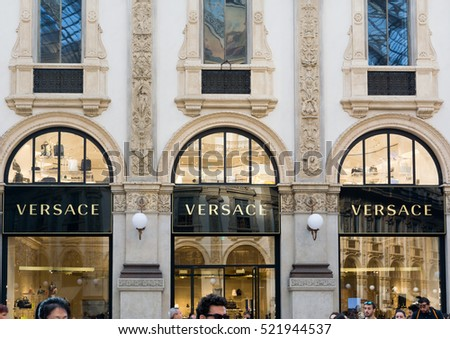 Milano Italy 24 November 2016: Versace boutique in Milan. Versace is an Italian fashion company and trade name founded by Gianni Versace in 1978.