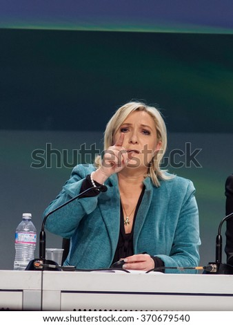 MILANO, JANUARY 29, 2016: President of the National Front, Marine Le Pen, during the closing press conference of the first ENF (Europe of Nations and Freedom) congress at the MiCo center in Milan. - stock photo