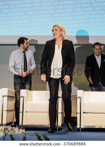MILANO, JANUARY 28, 2016: President of the National Front, Marine Le Pen, during the opening of the two days congress of the ENF (Europe of Nations and Freedom) at MiCo center in Milan. - stock photo
