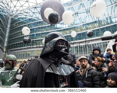 MILANO, MARCH 5, 2016: Darth Vader during the event organized by supermarket chain, Esselunga, to close the advertising campaign in piazza Citt  di Lombardia, in Milan.