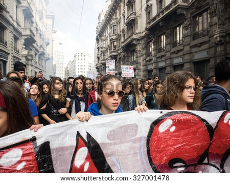MILANO, OCTOBER 09, 2015: Students march through the street to protest against the School reform's wanted by government of the Italian Prime Minister Matteo Renzi