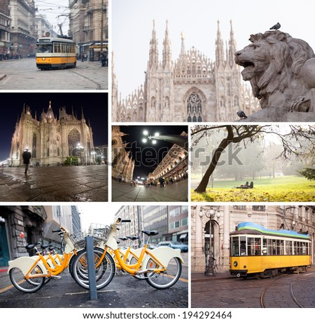 Milano streets with cathedral, vintage tram, bicycles collage  - stock photo