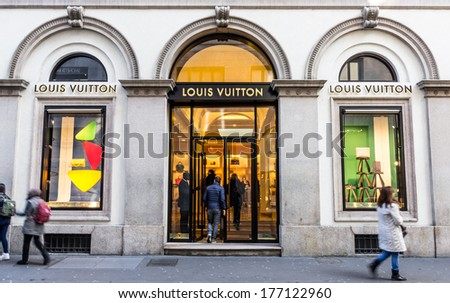 Milano,Via Montenapoleone,IT. february 2,2014. Louis Vuitton store.For six consecutive years(2006�2012) LV has been named the world's most valuable luxury brand.Its 2012 valuation was 25.9 billion USD - stock photo