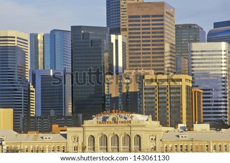 Mile High City of Denver at sunset in Colorado - stock photo