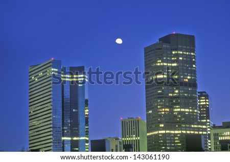 Mile High City of Denver at twilight, Colorado - stock photo