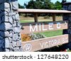 Mile 0, the beginning of highway 1 in Victoria BC, Canada - stock photo