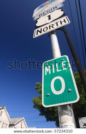Mile Zero in Key West - stock photo