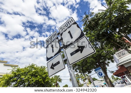 Mile Zero in Key West, highway sign No1 Florida keys,direction south and north - stock photo
