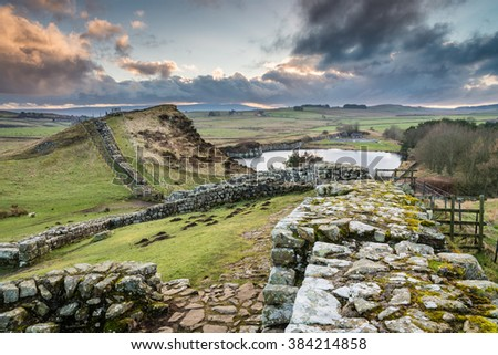 Milecastle 42 on Hadrian's Wall / The Pennine Way walking trail joins the Roman Wall at this section,which is a UNESCO World Heritage Site - stock photo