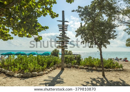 Milepost signpost on the beach in Key West Florida. USA - stock photo