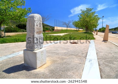 Milestone from ancient times marking the 40 km of the Marathon race, Greece - stock photo