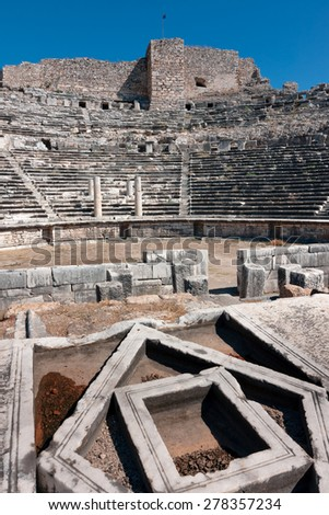 Miletus, central view of  theater  auditorium. Ruins of ancient Greek city - stock photo