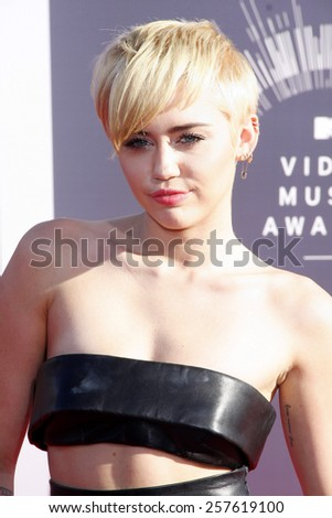 Miley Cyrus at the 2014 MTV Video Music Awards held at the Forum in Los Angeles on August 24, 2014 in Los Angeles, California. - stock photo