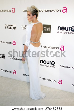 Miley Cyrus at the 21st Annual Elton John AIDS Foundation Academy Awards Viewing Party held at the Pacific Design Center in West Hollywood on February 24, 2013. - stock photo