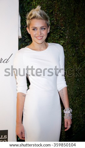 Miley Cyrus at the 21st Annual Elton John AIDS Foundation Academy Awards Viewing Party held at the West Hollywood Park in Los Angeles, USA on February 24, 2013. - stock photo