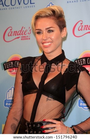 Miley Cyrus at the 2013 Teen Choice Awards Press Room, Gibson Amphitheatre, Universal City, CA 08-11-13 - stock photo
