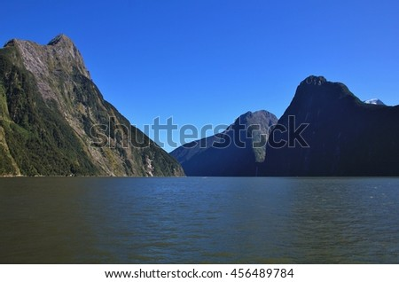Milford Sound and Mitre Peak, New Zealand - stock photo
