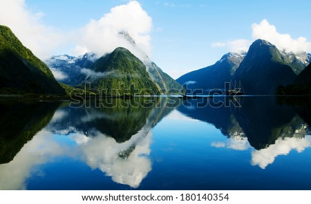 Milford Sound, Fiordland, New Zealand - stock photo