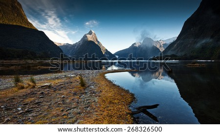 Milford sound is a fiord in the south west of New Zealand's South Island. - stock photo