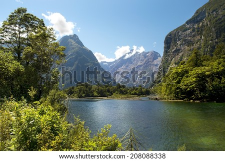 Milford track, picturesque landscape with river in New Zealand - stock photo