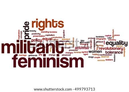 militant feminism word cloud concept tags stock illustration