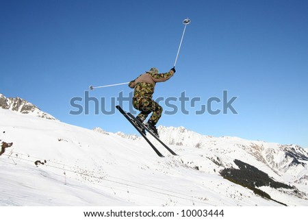 Militarist jumping high in the air