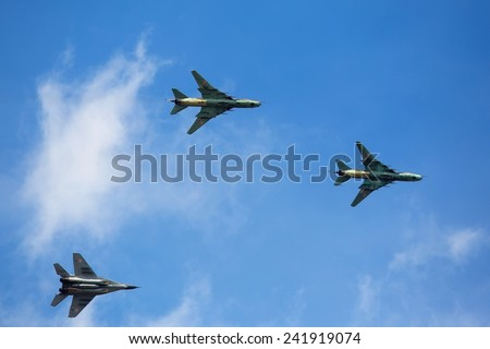 Military aircraft in flight - stock photo