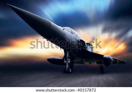 Military airplane on sky - stock photo