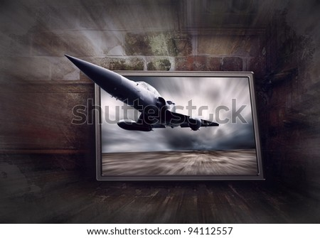 Military airplane on the speed, grunge background - stock photo