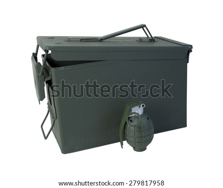 Military Ammunition Case in drab olive that secures on one end with a hand grenade - path included - stock photo