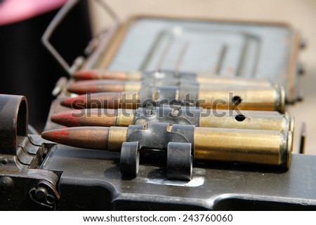 Military ammunition[ heavy machine gun bullet- sign of war today]
