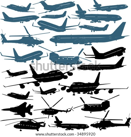 Military and passenger airliners, helicopters - stock photo