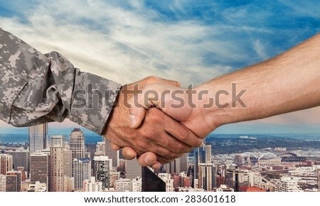 Military, Armed Forces, Handshake. - stock photo