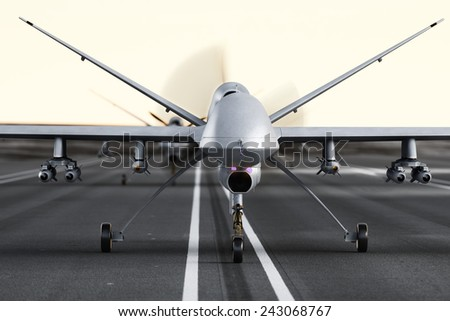 Military armed UAV drones preparing for takeoff on a runway. Photo realistic 3d model scene.