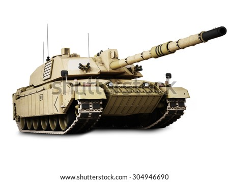 Military armored tank isolated on a white background. - stock photo