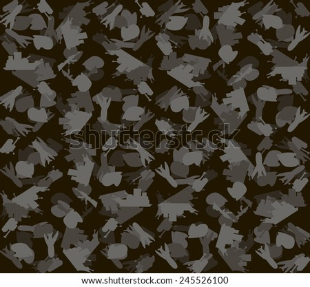 Military Background army seamless pattern. Tank, plane, cap, weapons, military ship.  - stock photo