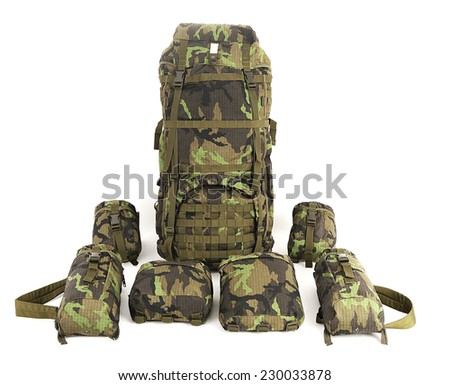 Military backpack with accessories isolated on white. Big size. Front view. - stock photo
