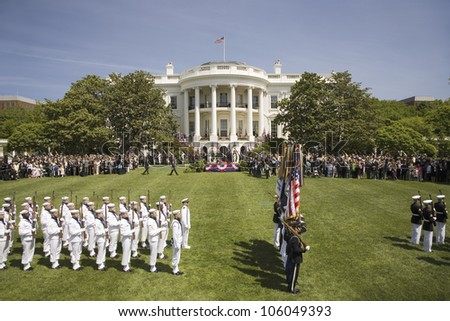 Military branches displaying flag colors on the South Lawn of the White House for the May 7, 2007 Official Welcoming of Her Majesty Queen Elizabeth II and Prince Philip to Washington, DC and America