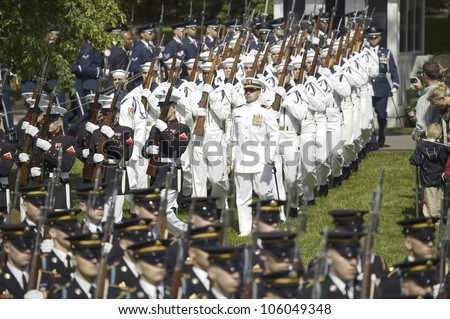 Military branches marching onto the South Lawn of the White House May 7, 2007 The Official Welcoming of Her Majesty Queen Elizabeth II and Prince Philip, the Duke of Edinburgh to Washington, DC - stock photo