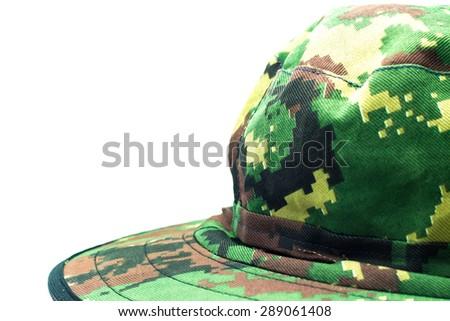 Military camouflage hat desert - stock photo