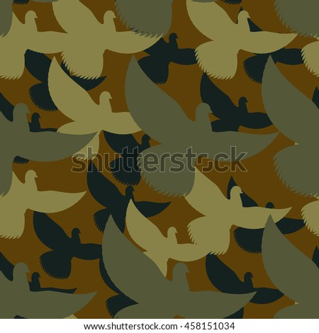 Military camouflage Pigeons. Birds Protective seamless pattern. Army soldier texture for clothes. Ornament for hunter. Dove khaki ornament - stock photo