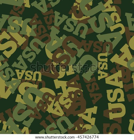 Military camouflage USA. American Protective seamless pattern. Army soldier texture for clothes. Ornament for hunter. Patriot ornament khaki  - stock photo