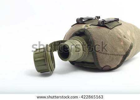 Military canteen isolated on white background